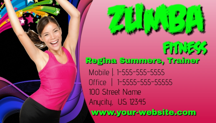 Zumba fitness business card template postermywall zumba fitness business card customize template reheart Choice Image