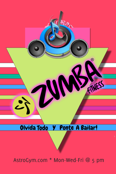 Zumba Fitness/Gym Classes/Gimnasio Plakat template