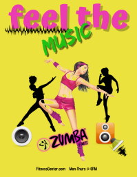zumba fitness/gym/exercise/dance/instructor Flyer (Letter pang-US) template