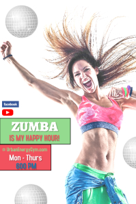 zumba fitness/gym/zoom class/dance/happy hour Poster template