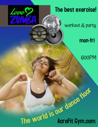 zumba fitness/gym/zumba class/exercise Flyer (US Letter) template