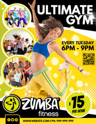 Zumba Fitness Poster Flyer (format US Letter) template